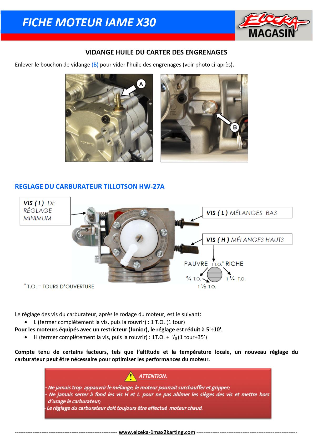 FICHE MOTEUR IAME X30 PAGE 2 SUR 3