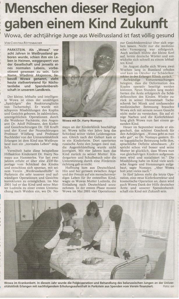 Zeitungsbericht 24. Dezember 2002