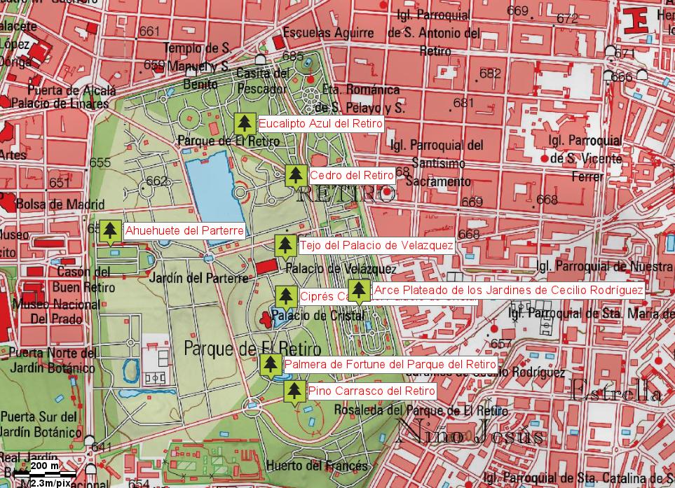 Plano Parque Del Retiro Mapa.Madrid Arboles Singulares De La Comunidad De Madrd