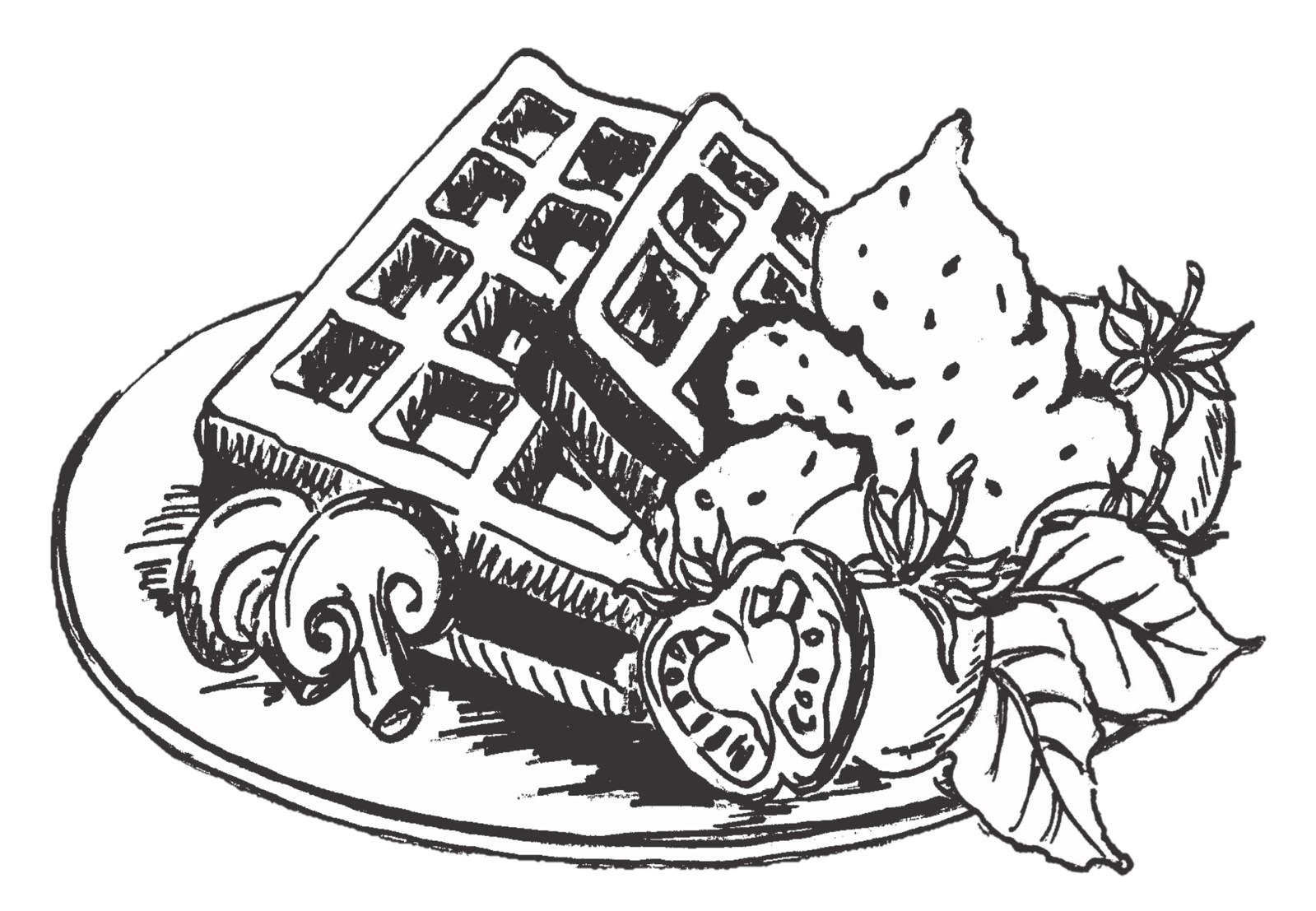 s/w Illustration - Kartoffelwaffel