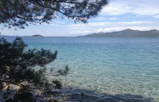 Meer mit Bergen und Bäumen in Kroatien