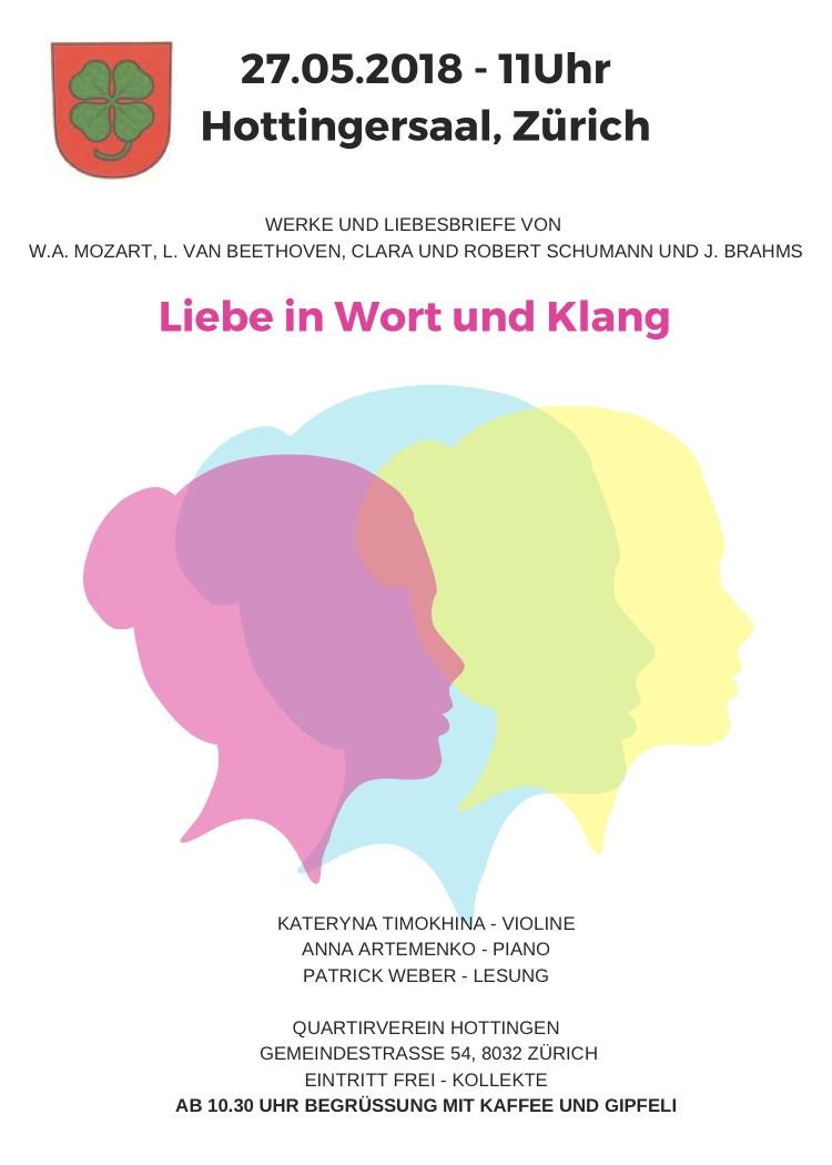 27. Mai 2018 um 11 Uhr, Hottinger Konzert Matinée, Gemeindestr. 54, 8032 Zürich