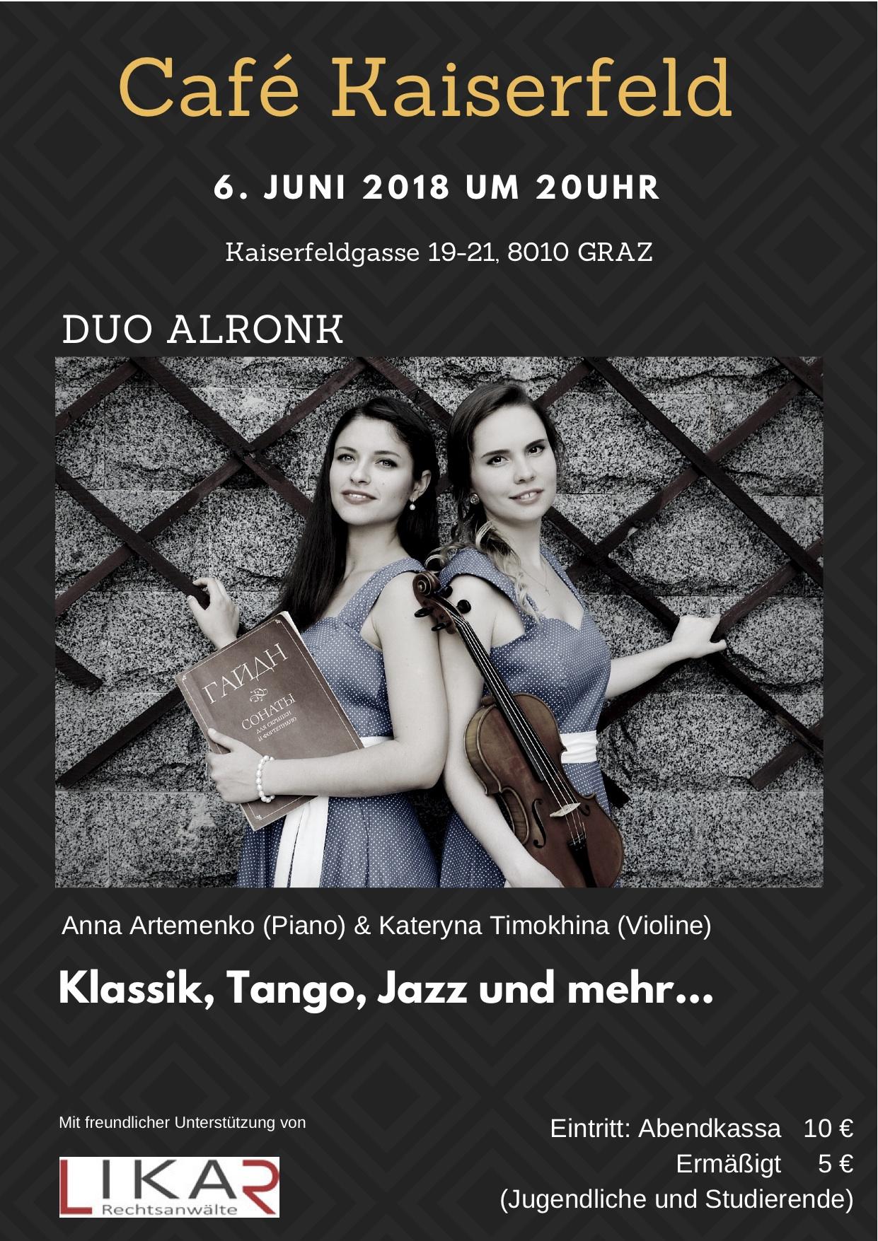 Konzert in Graz (Österreich) Timokhina & Artemenko - Duo Alronk