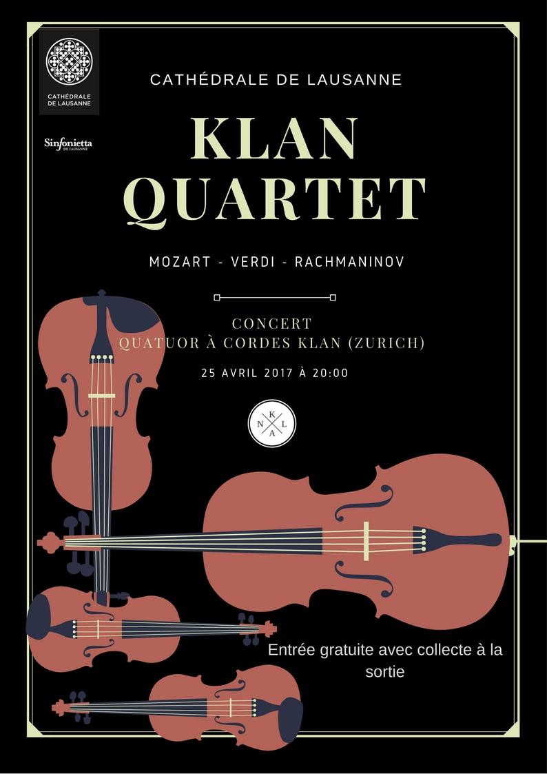 25 April, Cathedral de Lausanne, 20 Uhr. KLAN Quartett