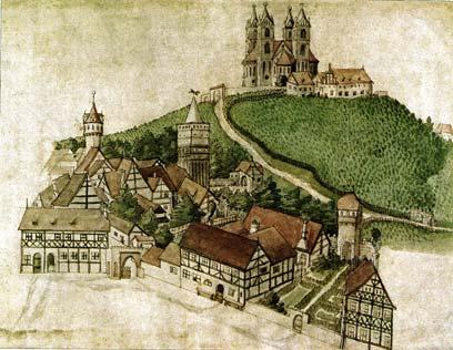 Marijina hora z Marijinej cyrkwju na městnje Triglawoweho swjatnišća, Branibor nad Habolu, po wobrazu měšćanskeho pisarja Zacharia Garcaeusa (1588)