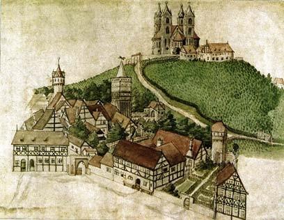 Marienberg mit der Marienkirche an der Stelle des Triglaw-Tempels, Brandenburg/Havel, nach einem Bild des Stadtschreibers Zacharias Garcaeus (1588)