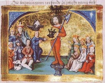 Swarožic/Radegast a druzy bohowje (žórło: Georg Spalatin: Chrónika Saksow. Lucasa Cranachowa dźěłarnja, Wittenberg 1530/35)