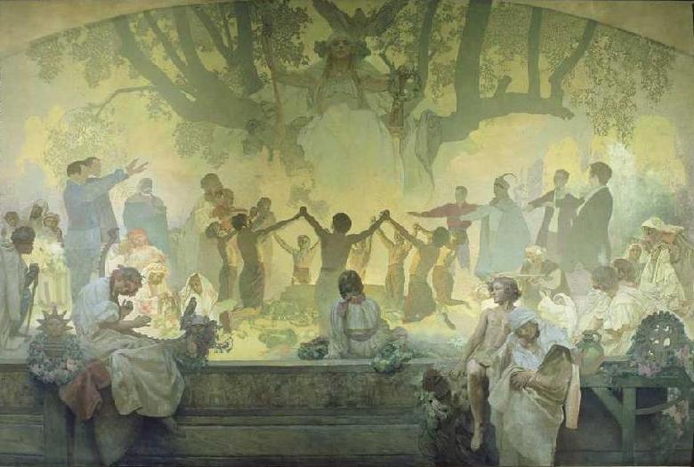 """Alfons Mucha: Gelöbnis der Jugend unter der Slawischen Linde (Aus dem Zyklus """"Das Slawische Epos, 1911-1928)"""