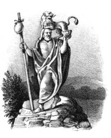 """Flins (Lithographie aus """"Götzenbilder der alten Sachsen und Lausitzer"""", 1835)"""