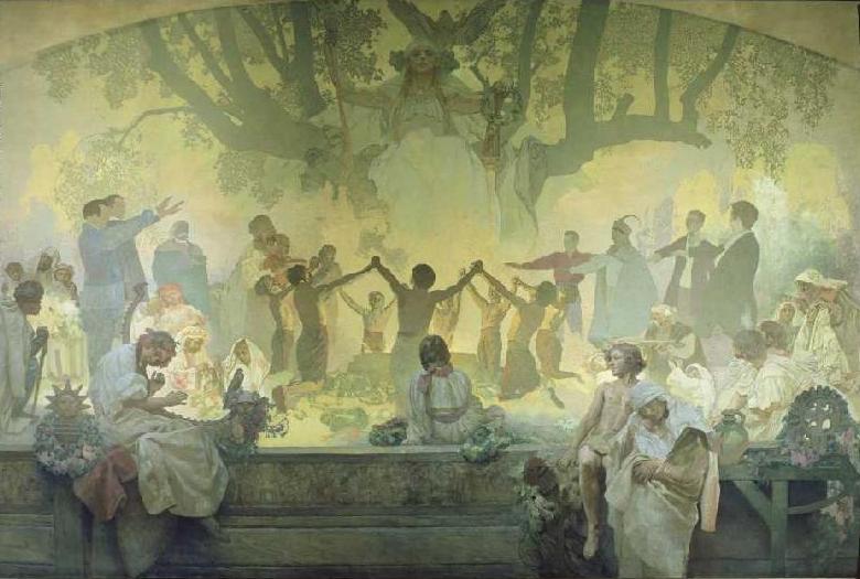 "Alfons Mucha: Přisaha młodźiny pod słowjanskej lipu (Z cykla ""Słowjanska epopeja, 1911-1928)"