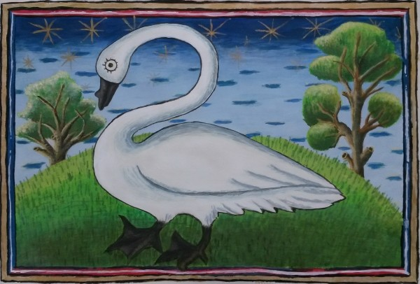 Swan (Reproduction of original at Museum Meermanno), 40cm x 27cm