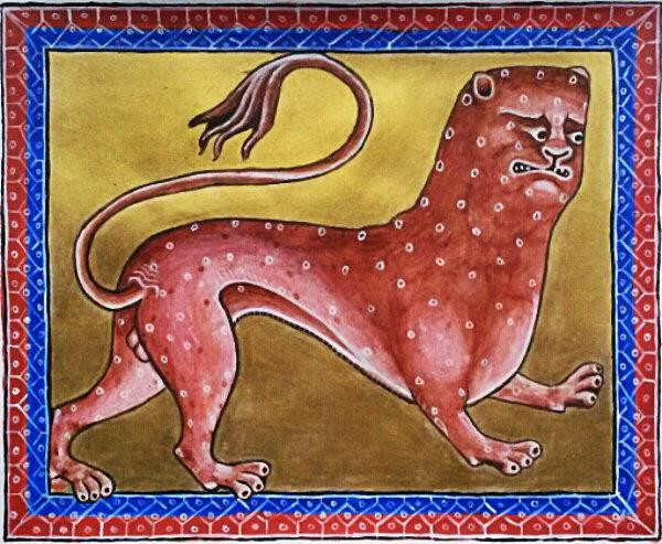 Leopard (Reproduction of Aberdeen bestiary original), 34cm x 27cm