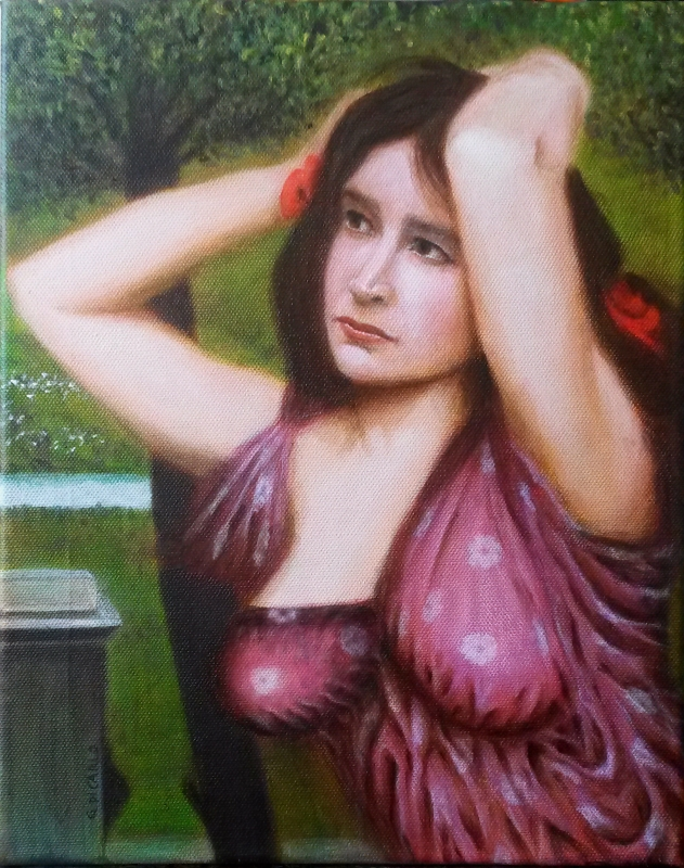 "Katy as Flora (inspired by in ""Flora and the Zephyrs"" by J W Waterhouse, 1898). 35 cm x 28 cm canvas"