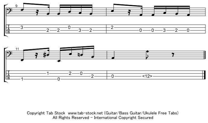 ベース楽譜(タブ譜)24のカプリース 第24番 3