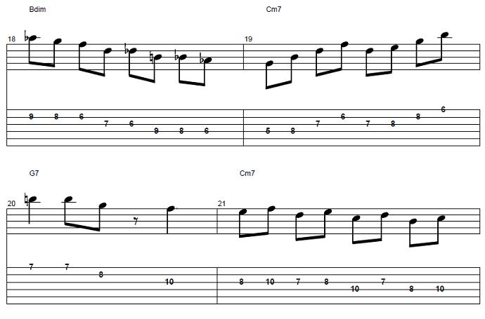 【初心者】ジャズギター入門:応用ソロフレーズ後半4
