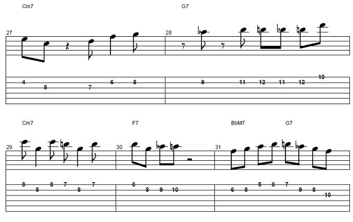 【初心者】ジャズギター入門:応用ソロフレーズ後半5