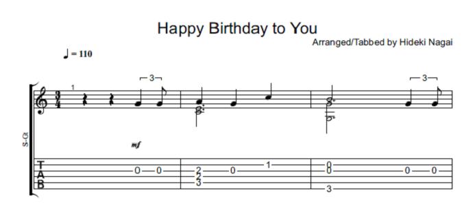 ソロギター・クラシックギター楽譜(タブ譜)誕生日おめでとう Happy Birthday to You 1