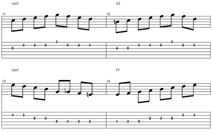 【初心者】ジャズギター入門:応用ソロフレーズ4