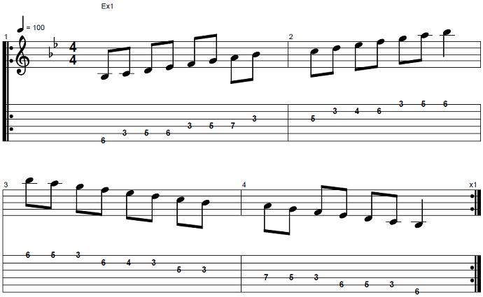 【初心者】ジャズギター入門:Bbメジャースケール1