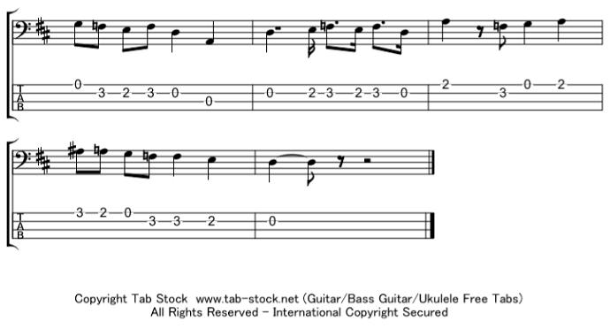 ベース楽譜(タブ譜)ファランドール 6