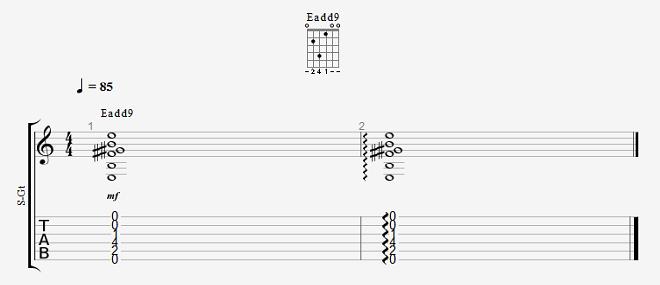 音感トレーニング ギターコード Eadd9