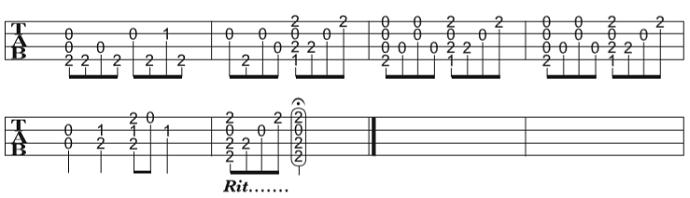 ソロウクレレの楽譜(タブ譜)さくらさくら(High-G) 4 タブストック