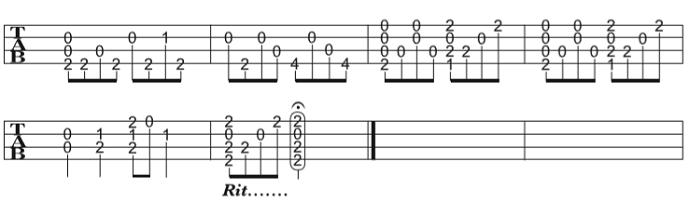 ソロウクレレの楽譜(タブ譜)さくらさくら(Low-G) 4 タブストック