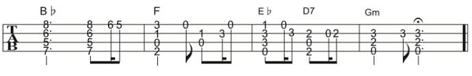 ソロウクレレの楽譜(タブ譜)グリーンスリーブス 3 タブストック