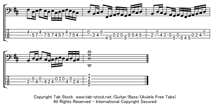 ベース カノン 楽譜 タブ譜 5