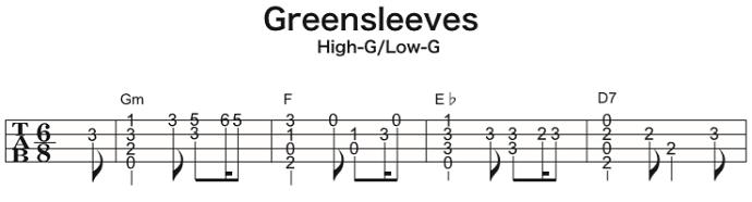 ソロウクレレの楽譜(タブ譜)グリーンスリーブス 1 タブストック