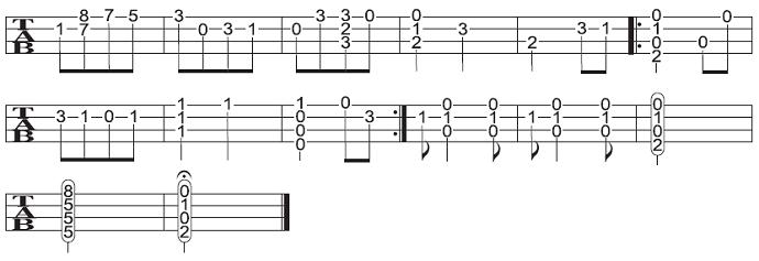 ソロウクレレの楽譜(タブ譜)愛のあいさつ 4 タブストック