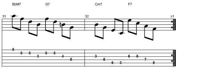 【初心者】ジャズギター入門:コードトーン-スケールエクササイズ9