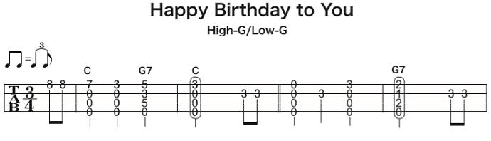 ソロウクレレの楽譜(タブ譜) Happy Birthday to You 1