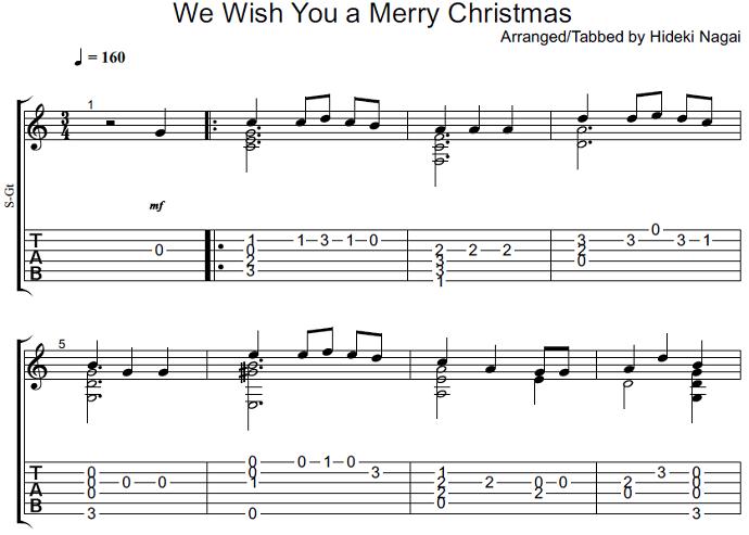 ソロギター・クラシックギター楽譜(タブ譜)クリスマス  We Wish You a Merry Christmas 1