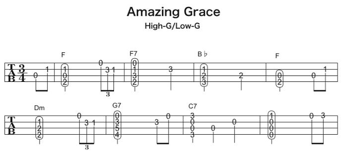 ソロウクレレの楽譜(タブ譜)アメイジング・グレイス 1 タブストック
