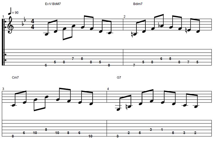 【初心者】ジャズギター入門:コードトーン-スケールエクササイズ1