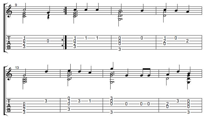 ソロギター・クラシックギター楽譜(タブ譜)クリスマス  We Wish You a Merry Christmas 2
