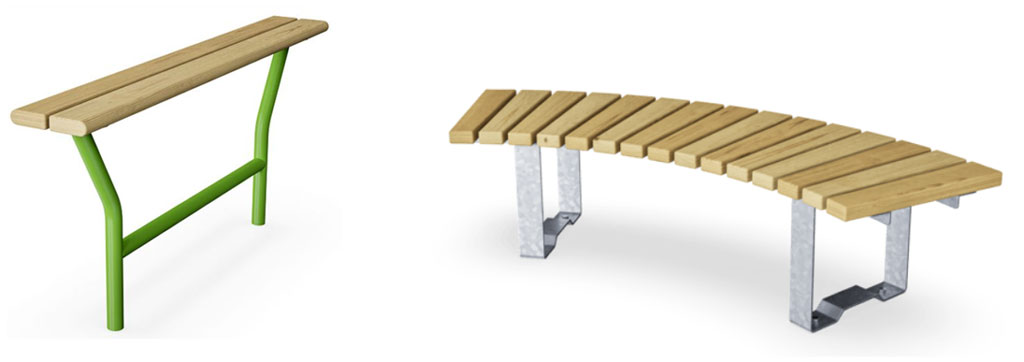 Steh- oder Sitzbänke für die kleine Pause