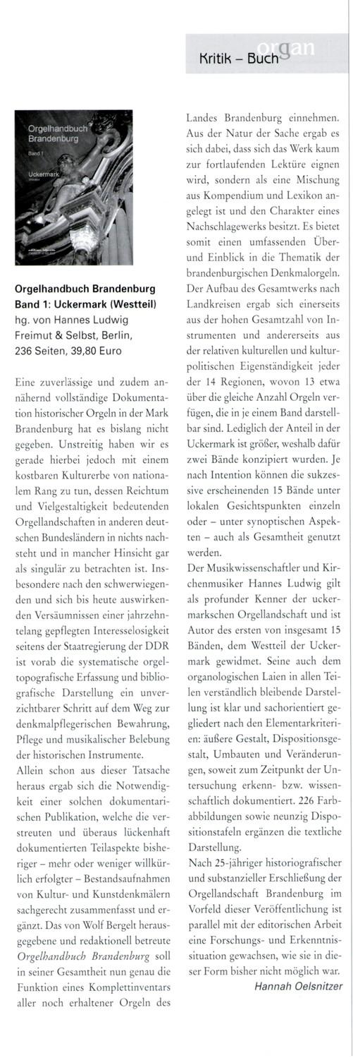 Organ, Journal für die Orgel 1/05 - Hannah Oelsnitzer