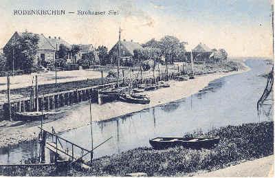 Altes Strohauser Sieltief mit Fischkutter, von Christian Hashagen, nach 1912, nach dem Brand der Mühle