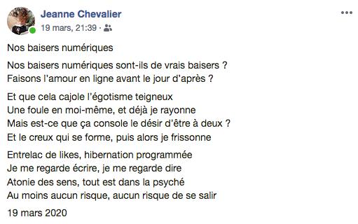 """""""Nos baisers numériques"""" auteure : Jeanne Chevalier"""