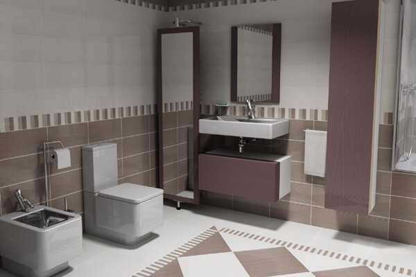 3D Interior Design - Bathroom Brown