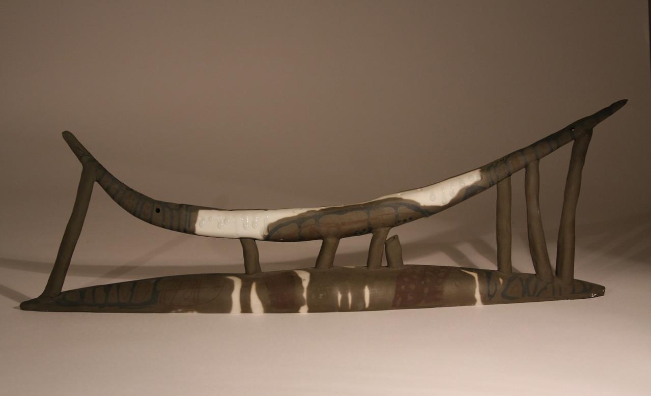 """""""Black horn"""", 70x25cm, porcelain, oxide,2011"""