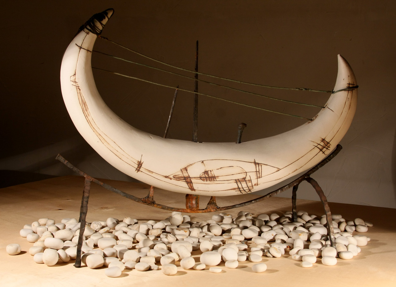 """White horn. Transformation №1"", 65х53 сm, ceramics,forging, galvanoplastics,2011"