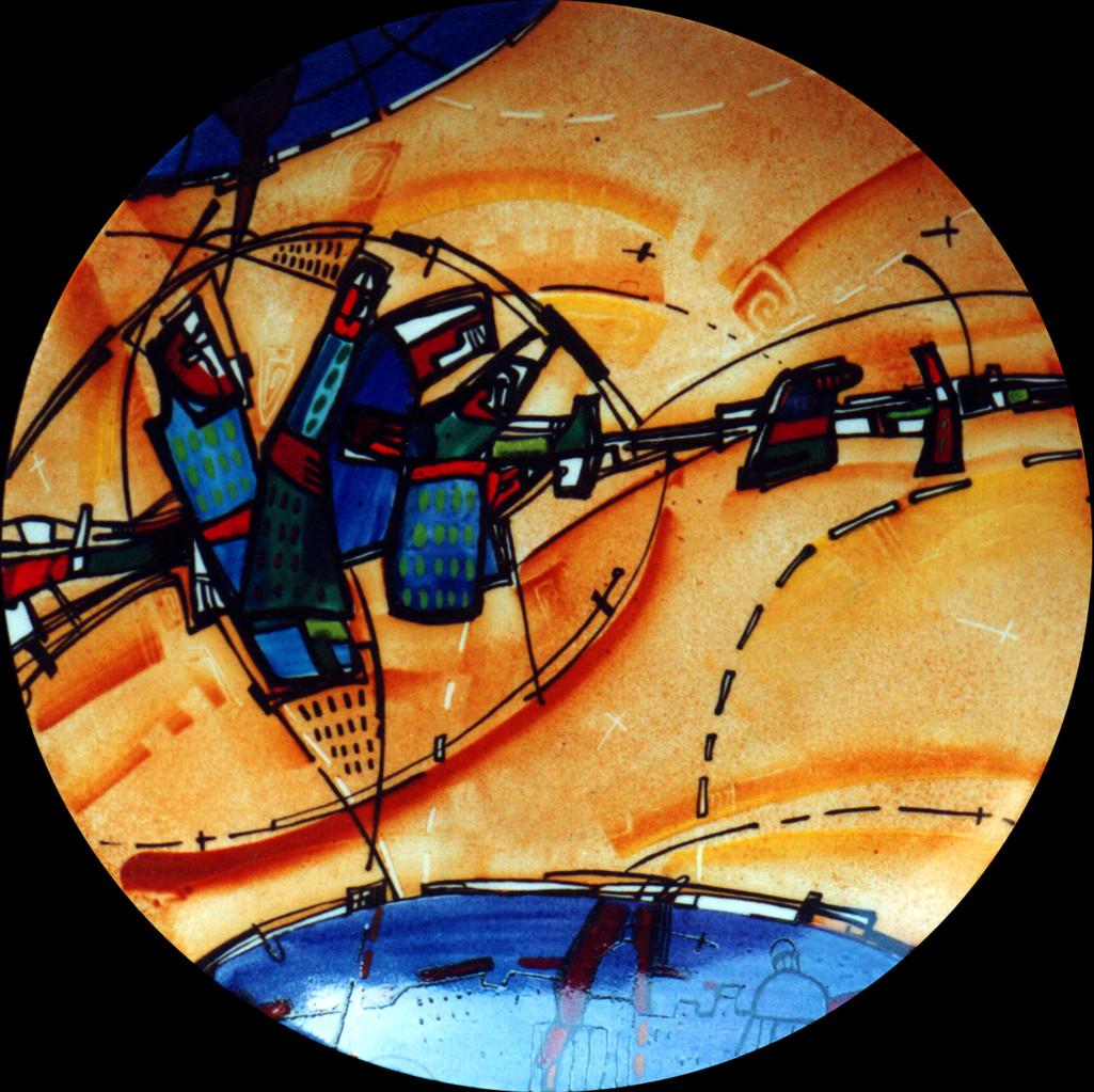 """""""Town 1"""", D-25cm,porcelain, overglaze painting,2013"""