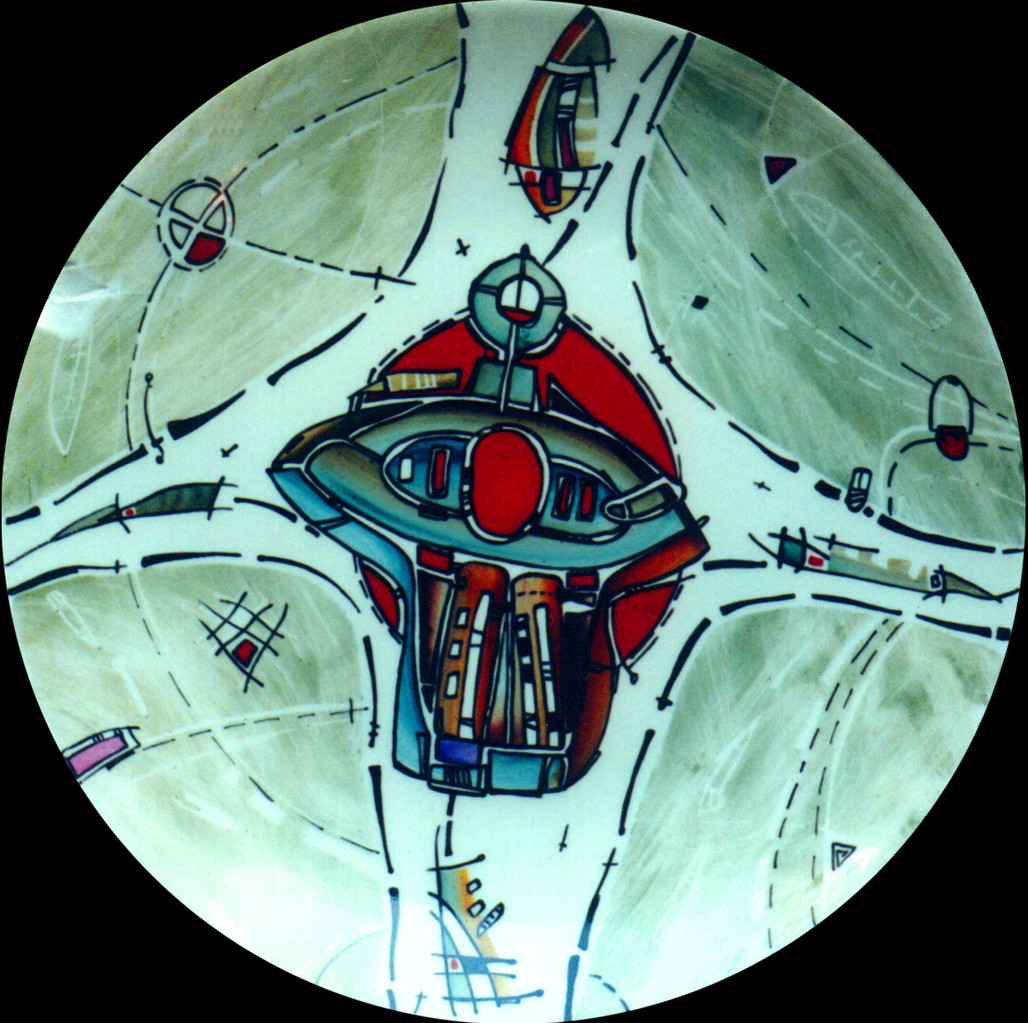 «Bird №2»  , D-25cm, porcelain, overglaze painting,2014