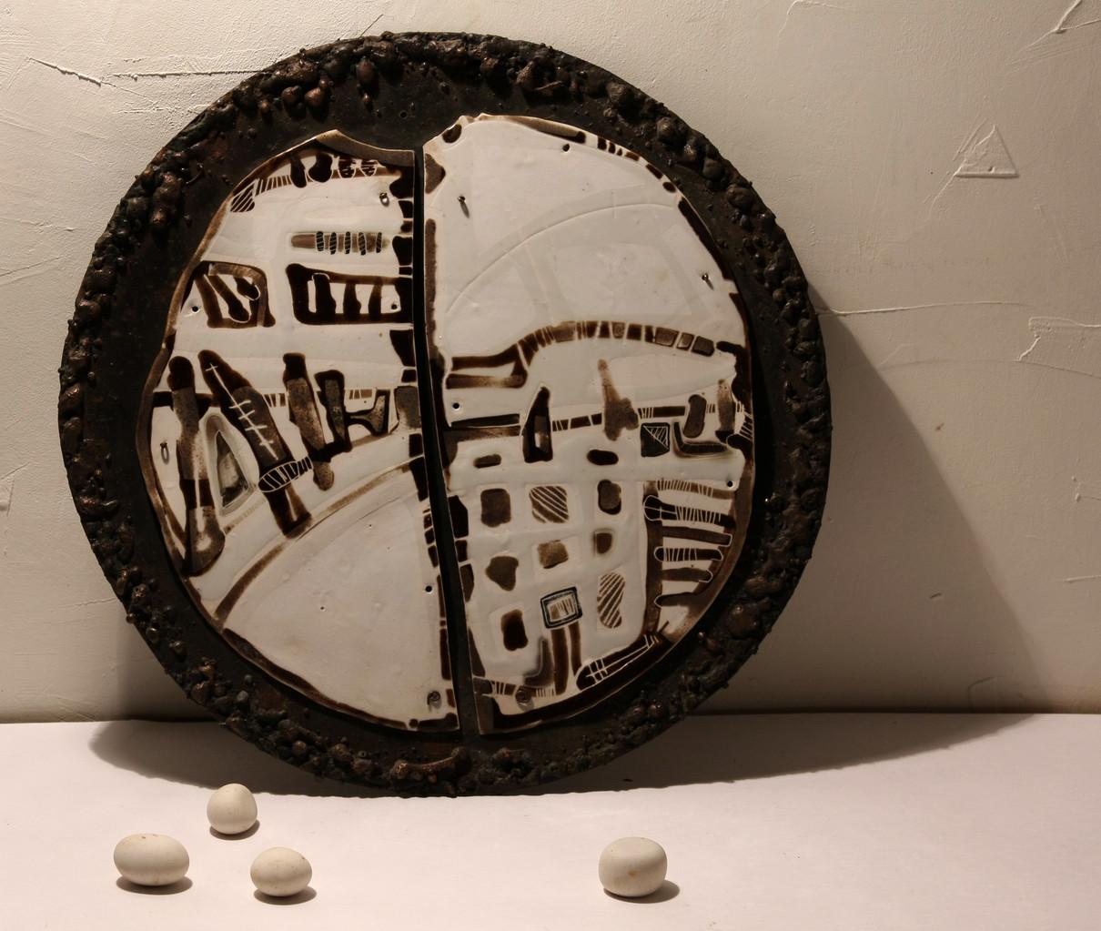 """Lunar topography. Object № 1"", d – 40сm, porcelain, oxide, metal, 2012"