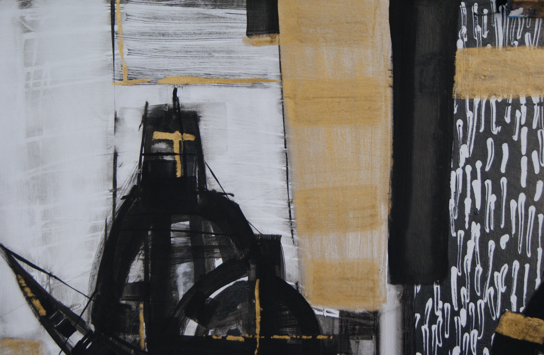 """Black Helmet"", 100x70, cardboard, mixed media, 2015"