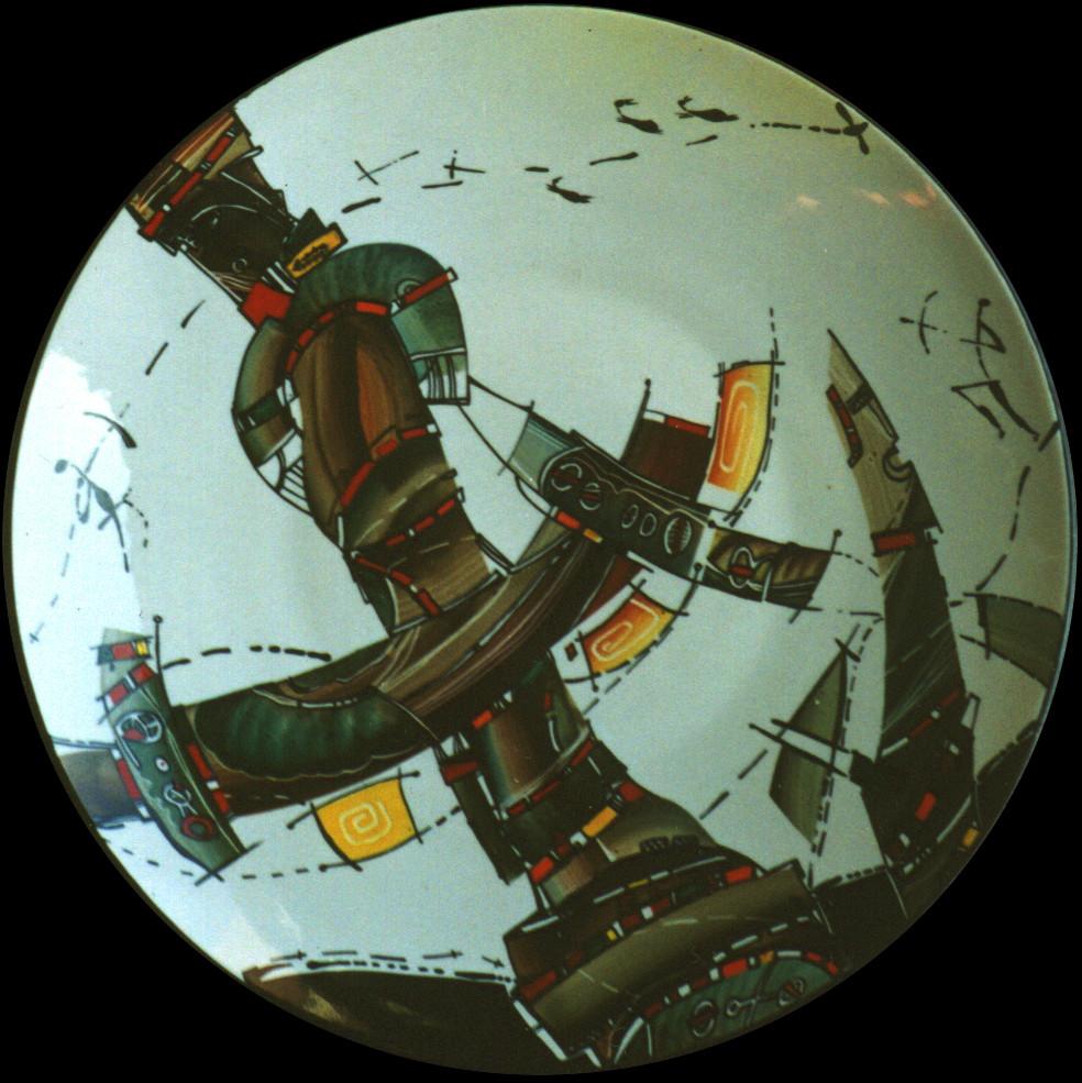 """""""Idols №1"""", D-30cm, porcelain, overglaze painting,2012"""