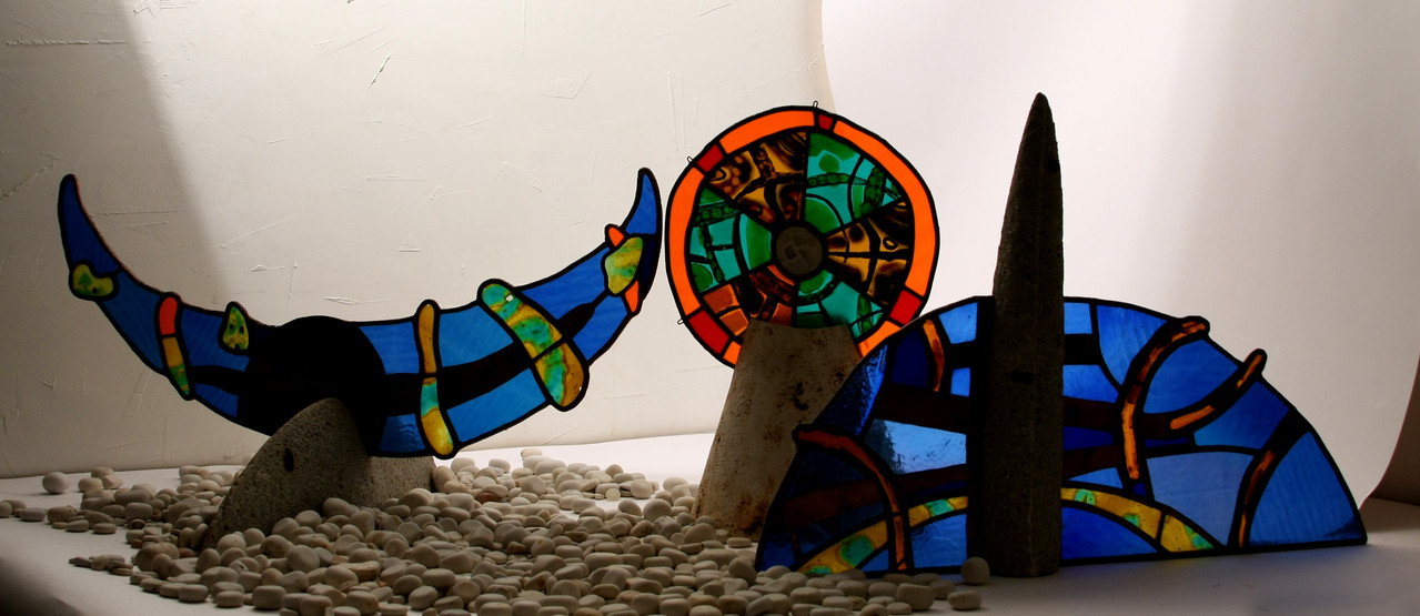 """Light and shade"", max h-75сm,   porcelain, stained_glass,2012"